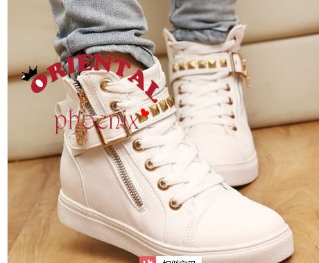 2014 rivet high top woman canvas shoes flat casual student sneakers female-inFlats from Shoes on Aliexpress.com | Alibaba Group