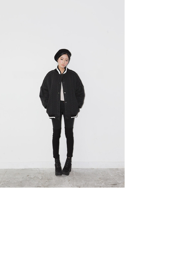 jacket stylenanda black cable knit textured baseball jacket