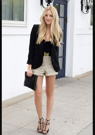 shorts new year's eve gold sequins belt gold shorts sequin shorts gold sequins sandals black sandals sandal heels top black top blazer black blazer peace love shea blogger pouch black pouch bag clutch