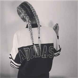 dress adidas shirt oversized shirt jacket pia mia perez black and white sweater adidas adidas sweater oversized sweater sweatshirt grey white black classic cute girl braid blonde hair top windbreaker nike bomber jacket retro 90s style vintage