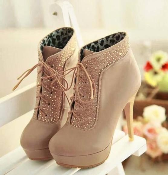 print heels sparkly beige laces
