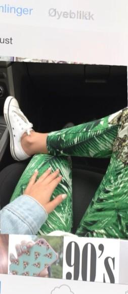 jeans green green pants plant printed pants