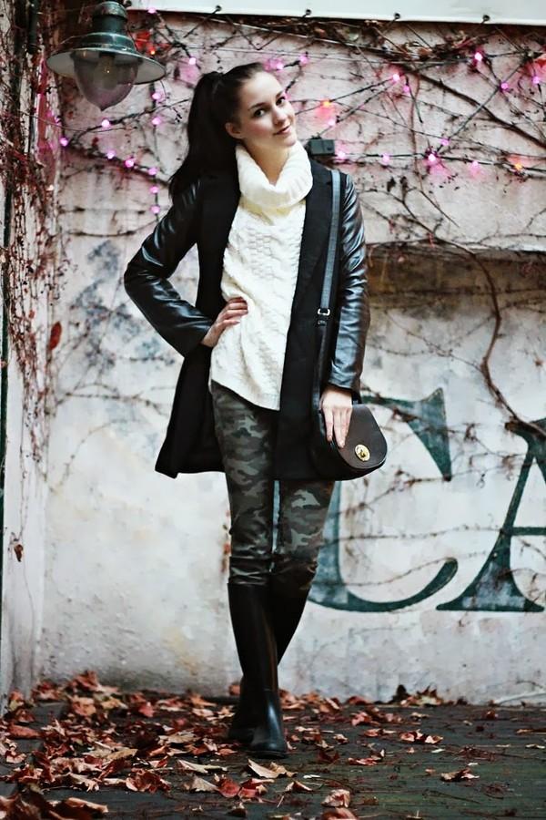 leona meliskova coat sweater pants shoes