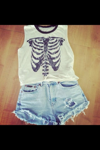 shirt black white crop tops ribs skeleton no sleeves