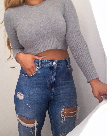 denim jeans distressed high waist medium wash ripped jeans winter outfits cropped sweater high waist jeans gray midriff crop tops high waisted jeans grey sweater