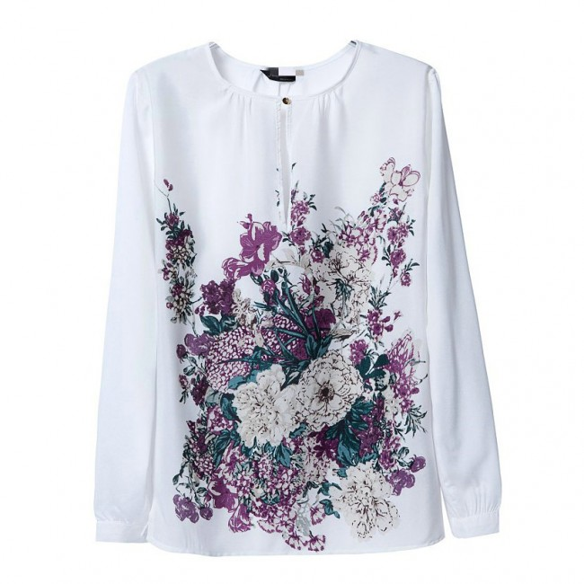 Purple flowers white blouse