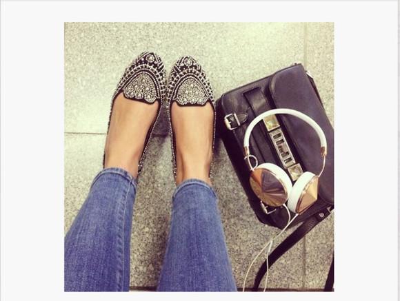 platform shoes embroidered studded shoes