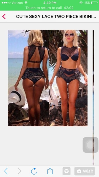 swimwear navy kanye west cute lace bikini bikini top bikini bottoms high waisted bikini sexy bikini tumblr bikini blue khole khloe kardashian