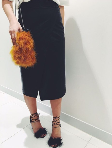 e42a838bc0c shoes girly girl girly wishlist fur heels fur heels fluffy heels strappy  sandals black sandals