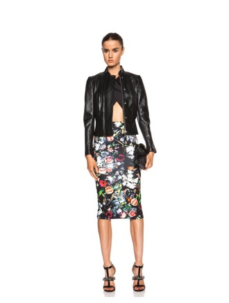 skirt pencil skirt leather jacket high heels clubwear clutch cropped top alexander mcqueen spring summer top summer outfits luxury