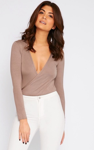 top caramel bodysuit pretty little thing prettylittlething open front style