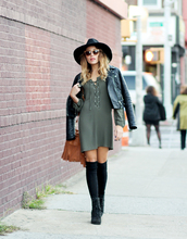 the marcy stop,blogger,dress,jacket,hat,bag,sunglasses,jewels,socks,shoes