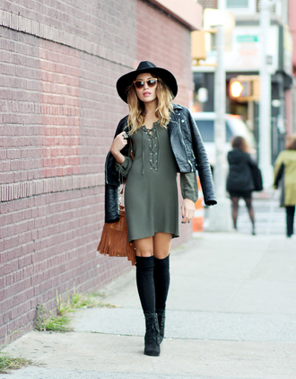 the marcy stop blogger dress jacket hat bag sunglasses jewels socks shoes