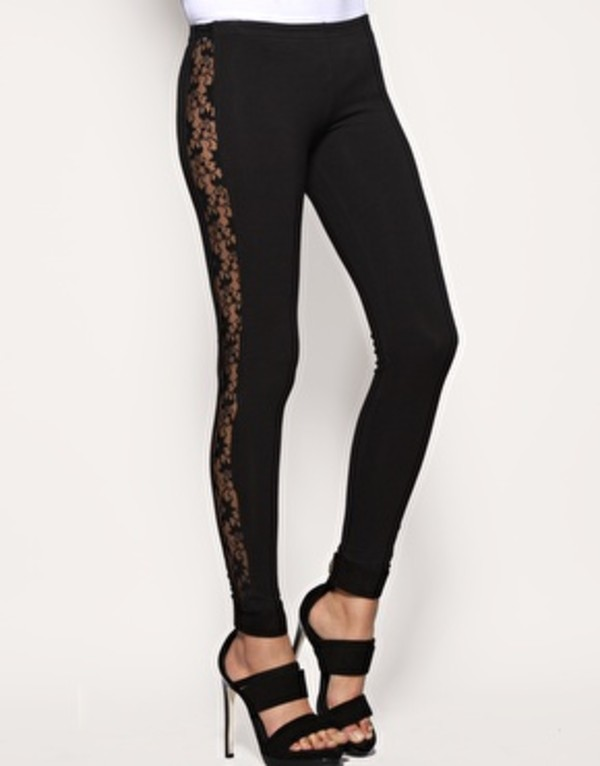 pants lace leggings inserted lace lace insert black