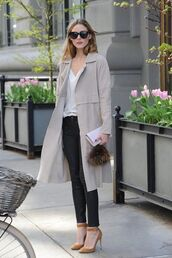 coat,Celebrity work outfits,work outfits,office outfits,black pants,pants,pumps,brown pumps,high heel pumps,ankle strap heels,top,white top,trench coat,grey coat,sunglasses,black sunglasses,olivia palermo,celebrity style,celebrity