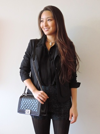 sensible stylista blogger blouse bag shorts tights black jacket blazer necklace glitter jewels jacket