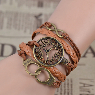 Fascinating infinity clock handcuff multideck handmade braided bracelet_2.59