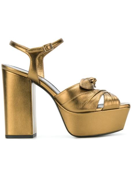 Saint Laurent bow women sandals leather grey metallic shoes