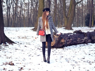 only my fashion style blogger coat sweater bag shoes fisherman cap ankle boots winter outfits red bag