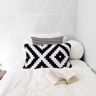 home accessory black and white geometric bedroom bedding pillow minimalist