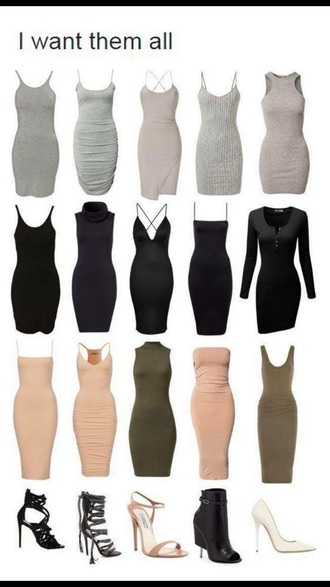 dress grey black olive green midi dress bodycon grey dress black dress kim kardashian style nude dress shoes