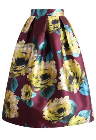 skirt golden peonies floral midi skirt chicwish midi skirt floral skirt golden skirt party skirt