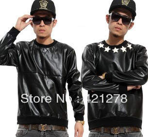 Exclusive original design !!! 2013 men autumn and winter all leather long sleeve zipper o neck sweatshirt star outerwear-in Hoodies & Sweatshirts from Apparel & Accessories on Aliexpress.com