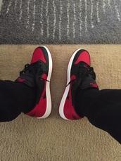 shoes,bred,jordan,air jordan's,air jordan,nike,nike air,red,black,low,23,trainers,sneakers,kicks,swag,fashion,style,retro,menswear,t-shirt,jordans