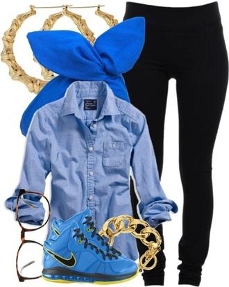 shoes blue yellow nike black leggings