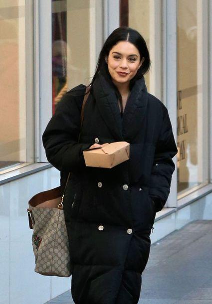 coat vanessa hudgens bag streetstyle celebrity