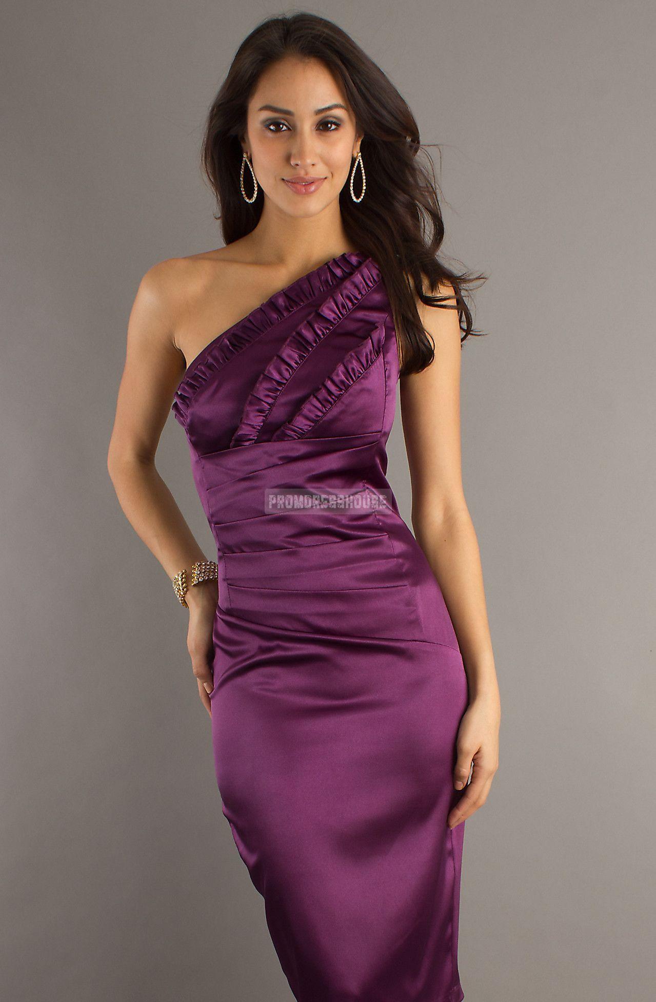 Zipper Tea Length One Shoulder Satin Grape Elastic Column -like Prom Dress - Promdresshouse.com