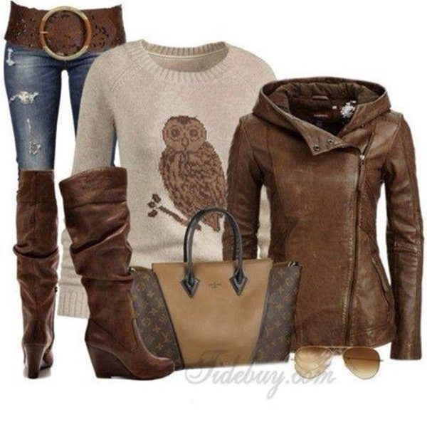 belt jacket shoes sunglasses jeans blouse sweater owl brown leather boots