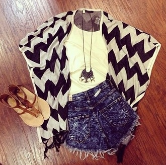 shorts high-wasted denim shorts sweater chevron