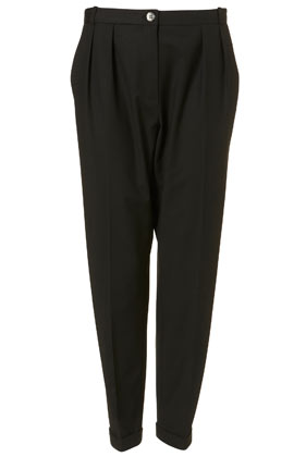 Black horn button tapered trousers
