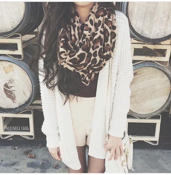 scarf shirt cardigan shorts tights purse