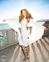 shoes,boots,jennifer lopez,dress,white,batwing