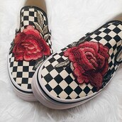 shoes,rose patch,patch,vans,jewels,patchwork,checkerboard,low top sneakers