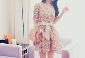 dress,tumblr,cute,tie,floral dress,floral,sweet,vintage,lace up,bows,pink,cute outfits,color/pattern,drees,flowers,retro,girly,girl,bow,bag,floraldress,pretty,side bag,summer dress,ariana grande,pink bow belt,jewelry,floral vintage,bow tie,ribbon,long sleeves,roses