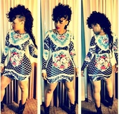 dress,bodycon,black,white,flowers,keyshia kaoir,vintage