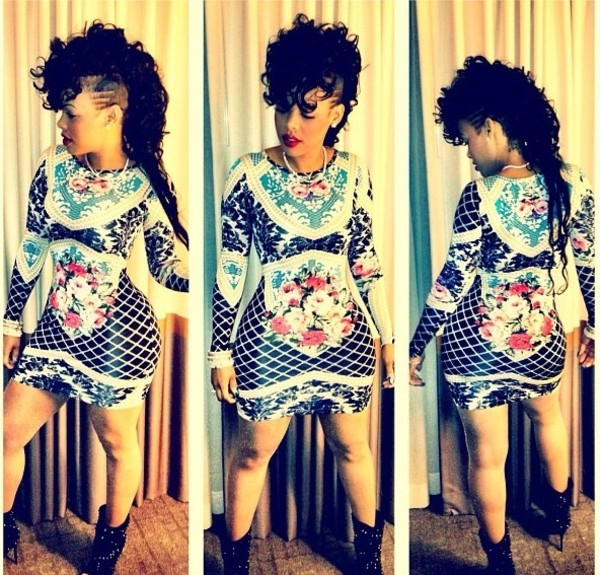 dress bodycon black white flowers keyshia kaoir vintage