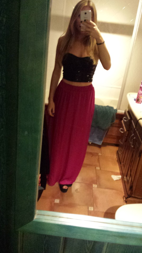 skirt fuchsia long skirt