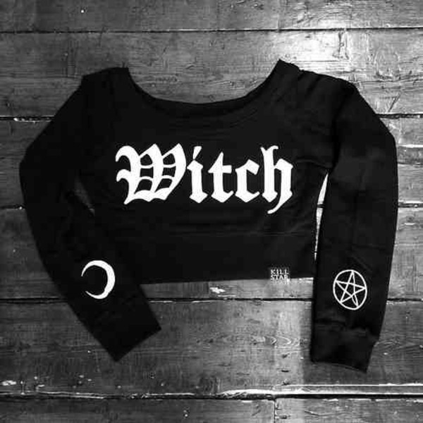 black shirt black crop top pentagram