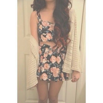 dress fashion flowered shorts cardigan crop tops