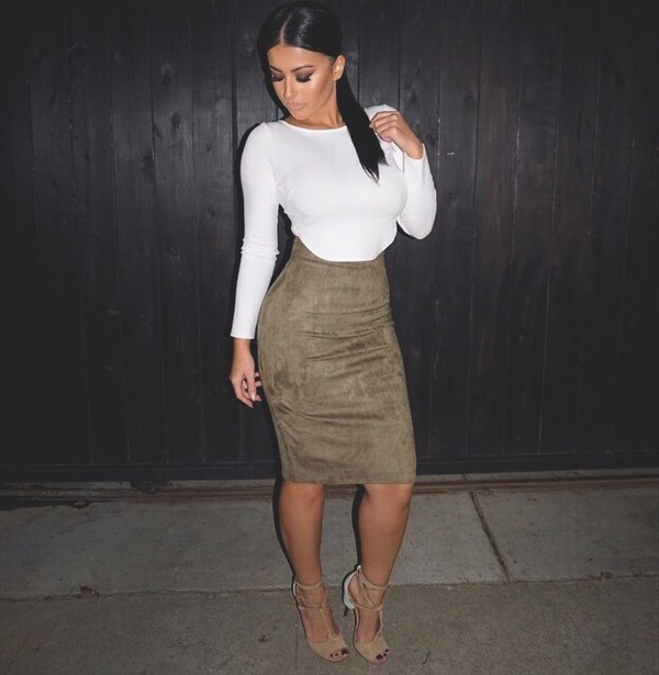 Skirt: suede, suede skirt, pencil skirt, crop tops, open toes ...