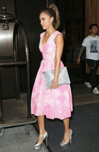 jessica alba shoes dress jewels pink