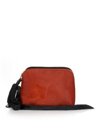 hair tassel clutch dark dark red red bag