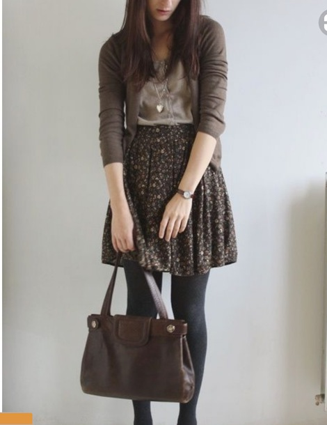skirt floral librarian brown