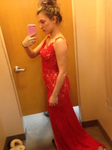 dress red dress lace dress