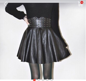 skirt rivet black gold rivets
