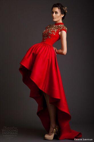 high low prom dress red dress gold detail gold dress sleeves high collar dress christmas holidays